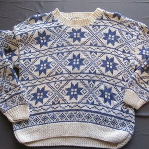 Vtg Womens LL Bean Holiday Knit Sweater Sz M